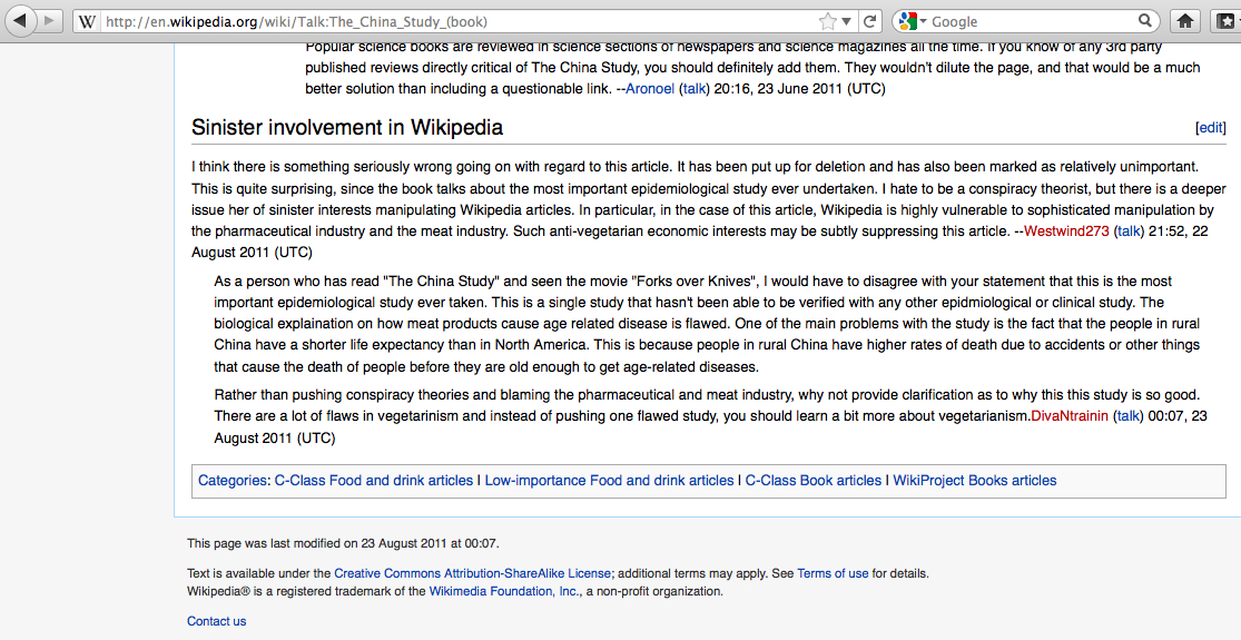 "Fat, Diabetes, and ""Sinister Involvement in Wikipedia"
